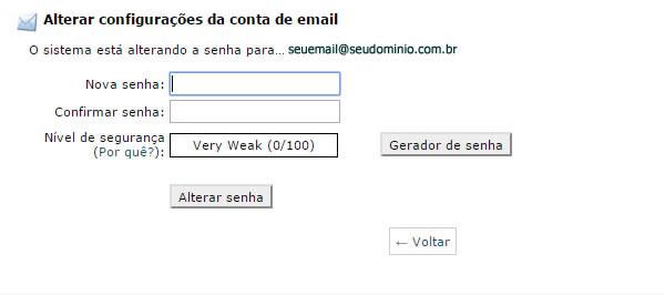 como trocar senha webmail cpanel