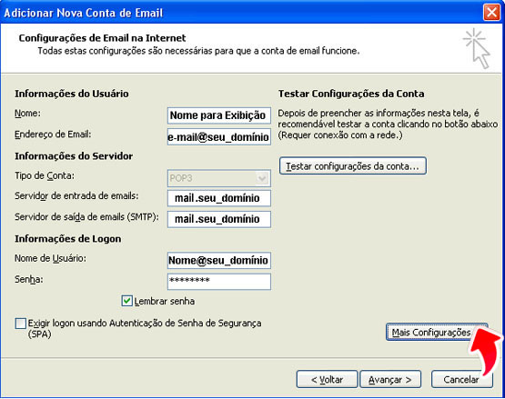 configuracao outlook office 2007