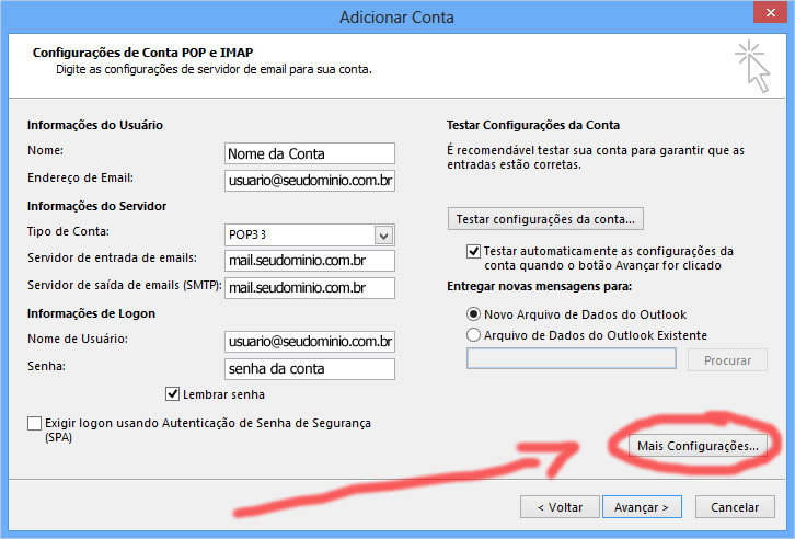 configuracao outlook office 2013
