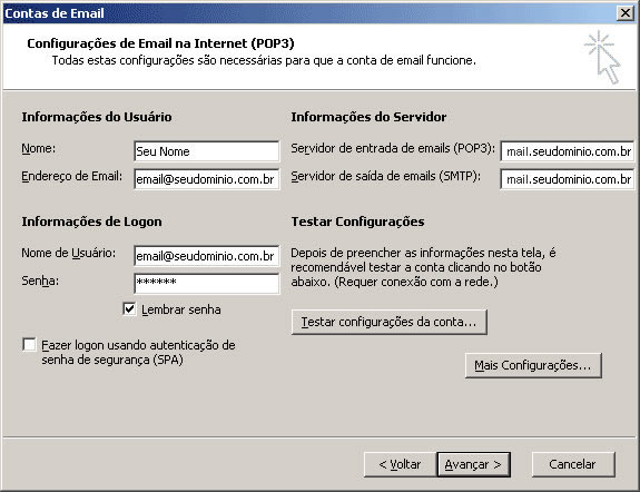 configuracao outlook office 2003