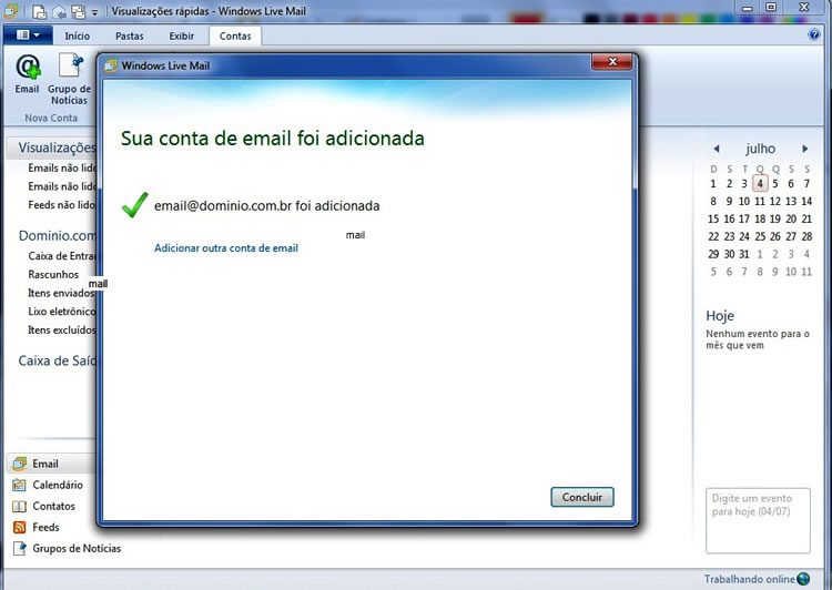 configuracao windows live mail