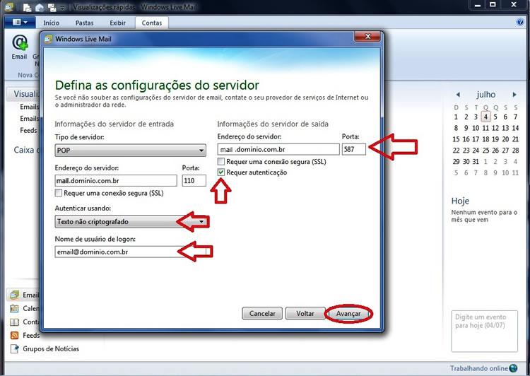 configuracao windows live mail